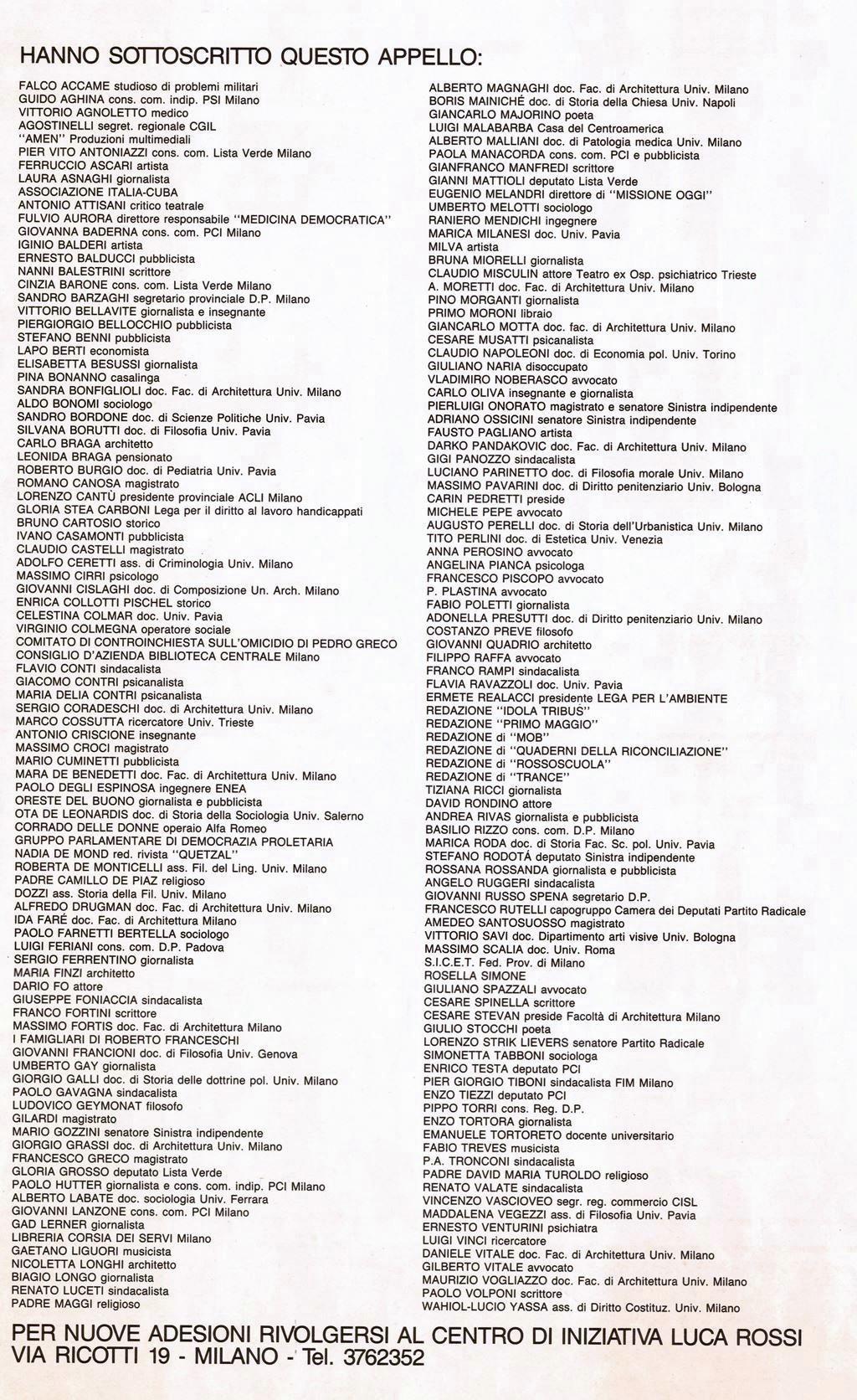 1987 Appello - firmatari