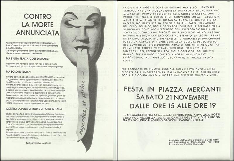 1987 Contro la morte annunciata - volantino