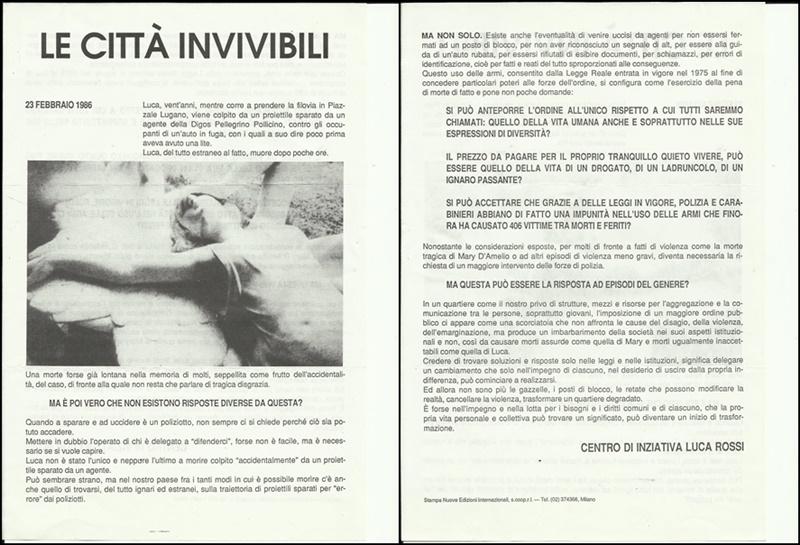 1987 Le città invivibili - volantino