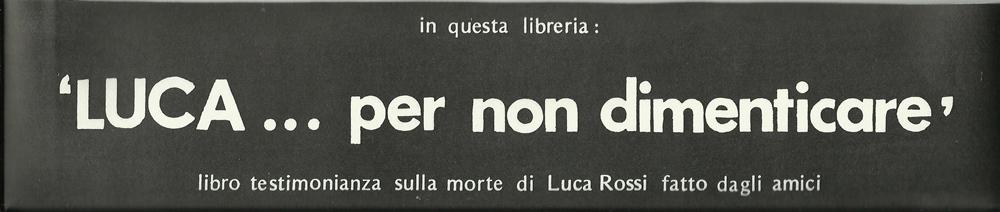 Fascetta librerie - Luca per non dimenticare - low